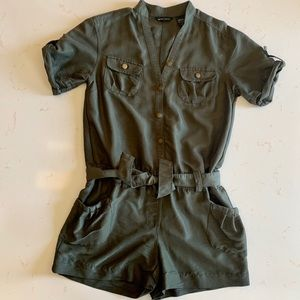 New York & Co army green olive romper small